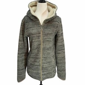 Bench Grey Knitted Hooded Zippered Coat L